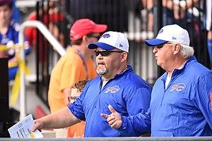 Joe Dickinson - Quarterback Consultant Joe Dickinson (Right) with Buffalo Bills Offensive Coordinator Greg Roman (Left)