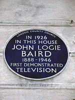 41dc09a9fd22 Blue plaque at 22 Frith Street, Westminster, W1, commemorating Scottish  inventor John Logie Baird's first demonstration of the television