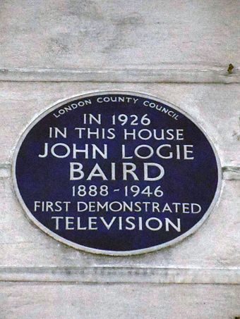 Blue plaque marking Baird's first demonstration of television at 22 Frith Street, Westminster, W1, London John Logie Baird Blue Plaque.jpg