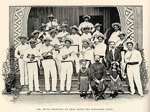 Portuguese immigration to Hawaii - John Philip Sousa with Portuguese ukulele players of the Hawaiian Band, 1901
