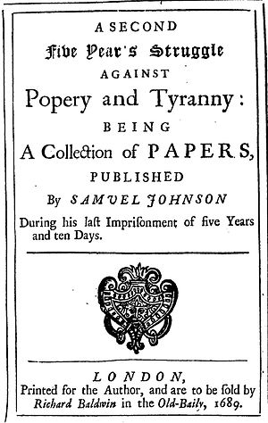 Samuel Johnson (pamphleteer) - 1689 frontispiece of a work by Samuel Johnson