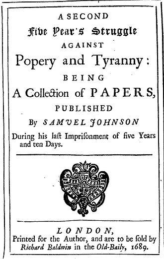 Samuel Johnson (pamphleteer) - 1689 frontispiece of a work by Samuel Johnson