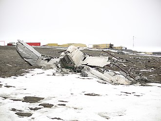 Alert, Nunavut - The remains of the Royal Canadian Air Force Lancaster 965, which crashed in July 1950. Difficult Arctic conditions makes landings in Alert hazardous.