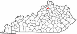 Location of Owenton, Kentucky