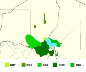 """Mapo de la plejparta uzo de la kvin gravaj lingvoj de la kanura lingvo-grupo. """"BMS"""" Kanura, Bilma """"KNC"""" Kanura, Centra """"KNY"""" kanura, Manga """"KRT"""" kanura, Tumari""""KBL"""" kanembua"""