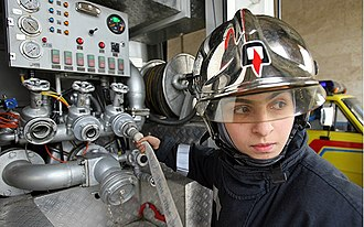Women in firefighting - A female firefighter in training, during opening of the first fire station for women in Iran, Karaj, 4 November 2006.