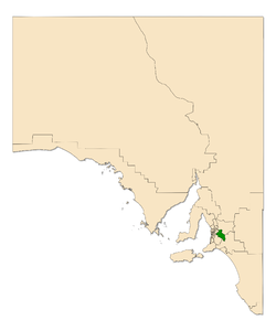 Map of South Australia with electoral district of Kavel highlighted