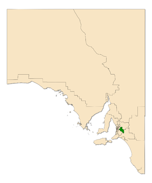 Electoral district of Kavel - Electoral district of Kavel (green) in South Australia