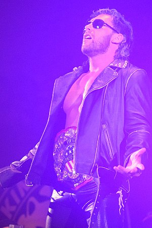 IWGP United States Heavyweight Championship - Kenny Omega, the winner of the tournament and inaugural champion, wearing the title belt in November 2017