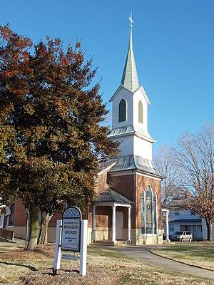 South Main Street Historic District (Kernersville, North Carolina) - Kernersville Moravian Church, South Main Street Historic District, Kernersville NC, January 2015
