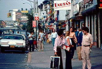 Kings Highway (Brooklyn) - Busy intersection of Kings Highway and Coney Island Avenue. (1977)