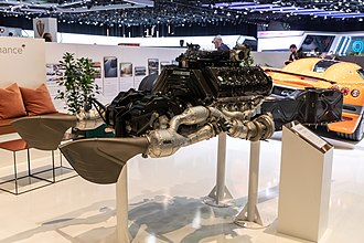 Koenigsegg Regera - Regera engine and exhaust system on display at Geneva International Motor Show