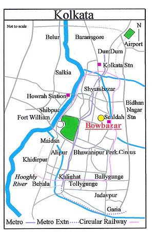 Bowbazar - Image: Kolkata Bowbazar Map