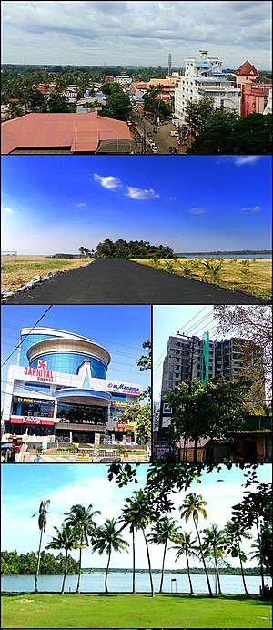 Kollam Metropolitan Area - From top clockwise: Aerial view of Residency Road in Kollam city, Coastal Road in Paravur, A high-rise apartment building in Ramankulangara, Ashtamudi Lake view from Chavara, H&J Shopping Mall in Karunagappally