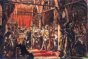 Kingdom of Poland (1025–1385) - Coronation of the First King, Jan Matejko; depicts the coronation of Boleslaus I the Brave