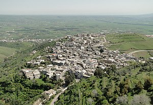 Al-Husn, Syria - Al-Husn village seen from the southeast tower of the Krak des Chevaliers
