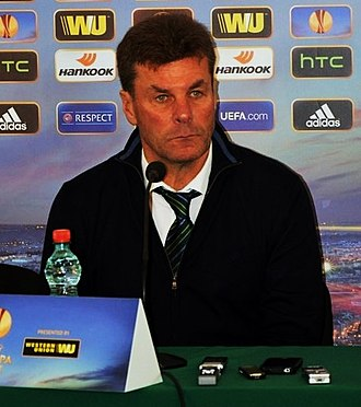 Dieter Hecking - Hecking at a press conference with VfL Wolfsburg in 2014