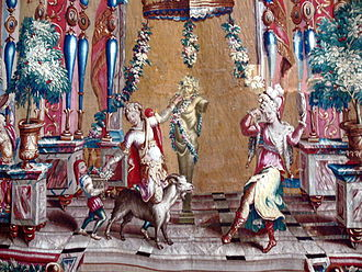 "Beauvais Manufactory - Tapestry from the suite of ""Bérain Grotesques"" (detail), made under the Behagles, c.1700 (Kronborg)"