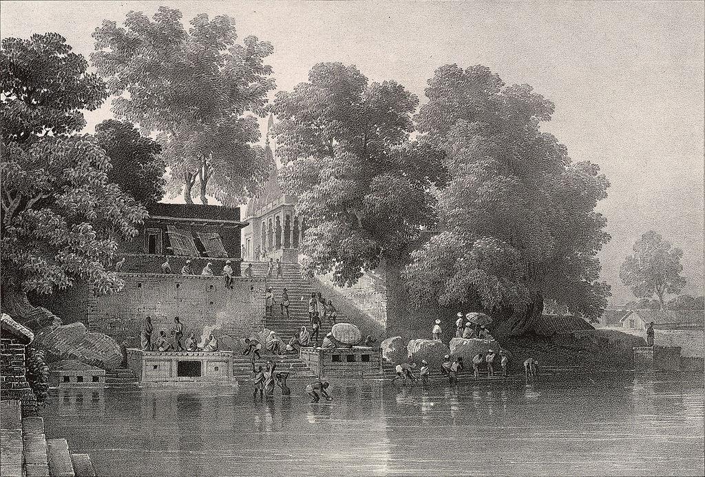 Lithograph of Kupuldhara Tulao, Benares by Prinsep (1834)