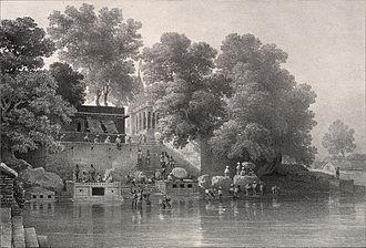 James Prinsep - Lithograph of Kupuldhara Tulao, Benares by Prinsep (1834)