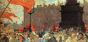 Fine Art of Leningrad - Boris Kustodiev  Celebration Marking the Opening of the 2nd Congress of the Comintern on Uritsky Square in Petrograd on 19 June 1920. 1921. Russian Museum