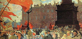 Communist International - Boris Kustodiev. Festival of the II Congress of Comintern on the Uritsky Square (former Palace square) in Petrograd