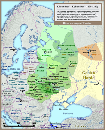 The principality on the northeastern periphery of Kievan Rus', Vladimir-Suzdal, grew into the Grand Duchy of Moscow. Kyivan Rus' 1220-1240.png