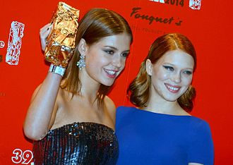 Léa Seydoux - Seydoux with her Blue Is the Warmest Color co-star, Adèle Exarchopoulos, at the 2014 Césars Awards