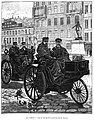 Léon Serpollet and E. Archeacon in a Serpollet steam tricycle, leaving for Lyon, January 1890.jpg