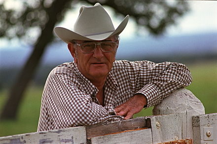 Wearing a ten gallon hat at his ranch in Texas, 1972 LBJ At Ranch 1972.jpg