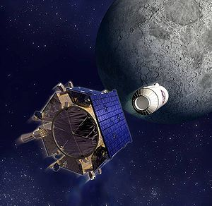 Lunar water - On Friday 9 October 2009, as the spent upper stage of NASA's Lunar Reconnaissance Orbiter launcher smashed into the Cabeus lunar crater, the LCROSS probe attempted to detect water in the ejecta plume before it also crashed itself onto the lunar surface.