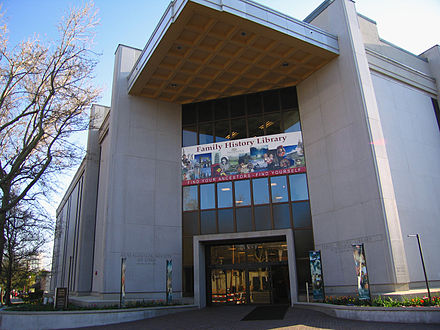The church's Family History Library is the world's largest library dedicated to genealogical research. LDS genealogy library slc utah.jpg