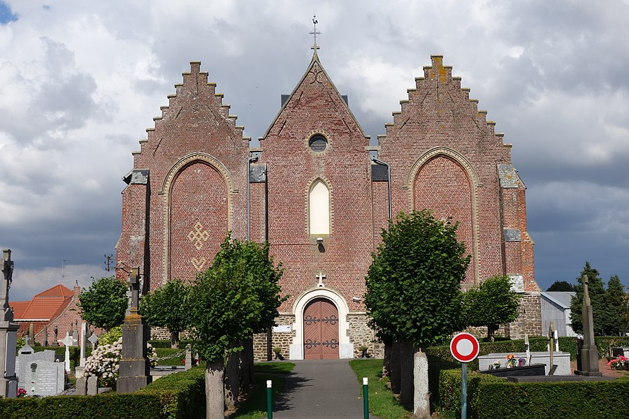 Church hall or hallekerk (hallekerk), made up of three naves, Romanesque  A runic-shaped design on the gable of the church, on the left