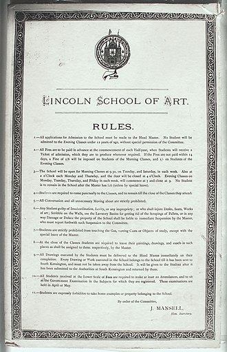 Lincoln College of Art - Notice board of the LSA rules of school