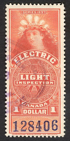 """""""Lady of the Lightbulbs"""", electric light inspection stamp"""