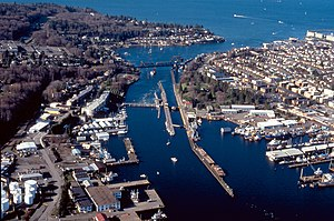 Ballard Locks - An aerial view of the locks, facing west