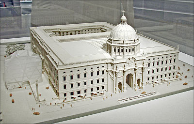 Model of how the finished reconstruction of Humboldt Forum will look Le projet Humboldt-Forum (Berlin) (6087765939).jpg