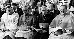 Joachim Meisner - From left to right: Karl Lehmann, Gerhard Schaffran, Joseph Ratzinger (future pope), and Meisner in Dresden, 1987.
