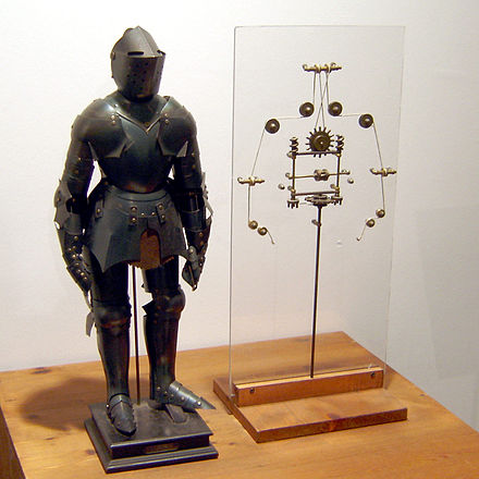 Model of Leonardo's robot with inner workings. Possibly constructed by Leonardo da Vinci around 1495. Leonardo-Robot3.jpg