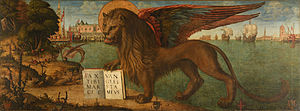 Mark the Evangelist - Mark the Evangelist's symbol is the winged lion, the Lion of Saint Mark. Inscription: PAX TIBI MARCE EVANGELISTA MEVS. The same lion is also symbol of Venice (on illustration)