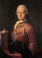 Serios-faced middle-aged man, seated facing half- left, wearing a wig and a heavy brown formal coat