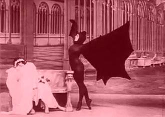 "Les Vampires - Marfa Koutiloff (Stacia Napierkowska) dancing as a vampire bat in ""The Ring That Kills"""