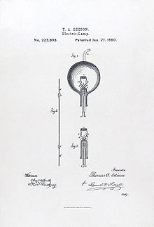 The diagram, designed by Thomas Edison in 1880, is intended to depict the workings of a light bulb.