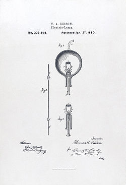 Illustration from U.S. Patent #223898: Electric-Lamp.  Issued January 27, 1880 to Thomas Edison.