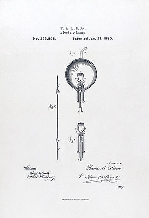 Light bulb patent application. Photolithograph...