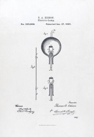Титульный лист патента Эдисона на электрическую лампу 1880