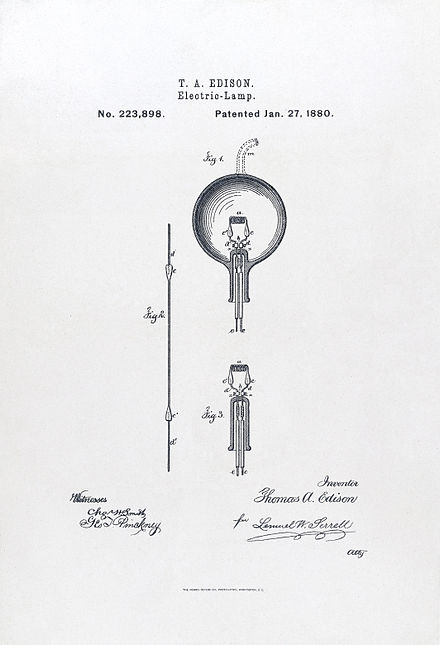 U.S. Patent#223898: Electric-Lamp. Issued January 27, 1880. Light bulb Edison 2.jpg
