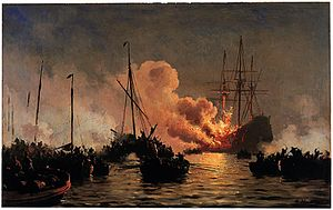 The Danish ship of the line Dannebrogen caught on fire during the battle of Køge Bugt, 1710