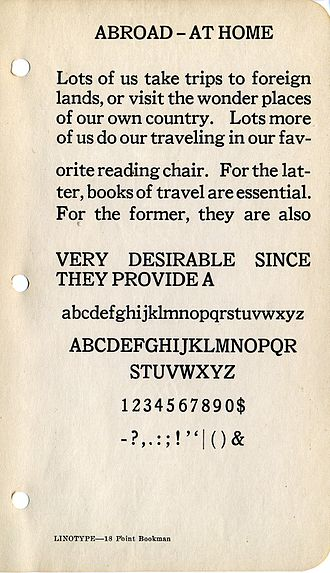 Bookman (typeface) - A specimen of Linotype Bookman.