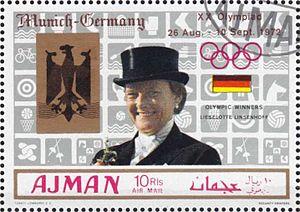 Liselott Linsenhoff - Image: Liselott Linsenhoff 1969 Ajman stamp